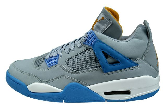 Jordan 4 Retro mist blue university blue gold leaf white shoes