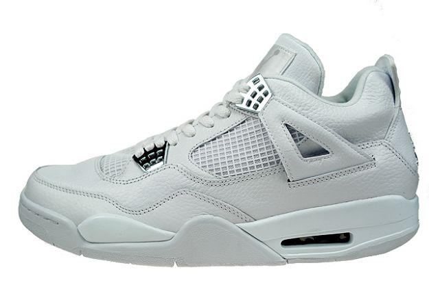 Jordan 4 Retro pure money white metallic silver shoes