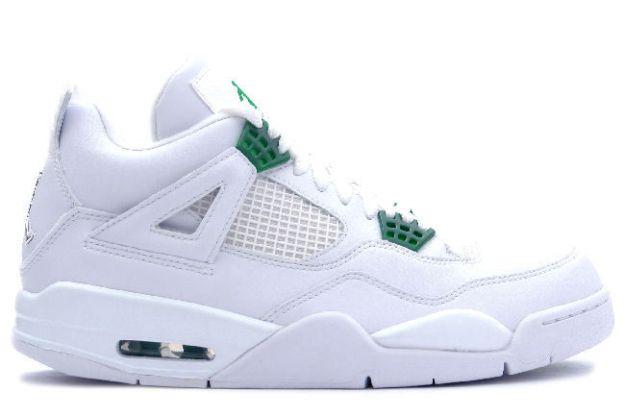 Jordan 4 Retro white chrome green shoes