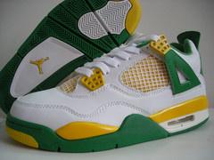 Jordan 4 Retro white green yellow shoes