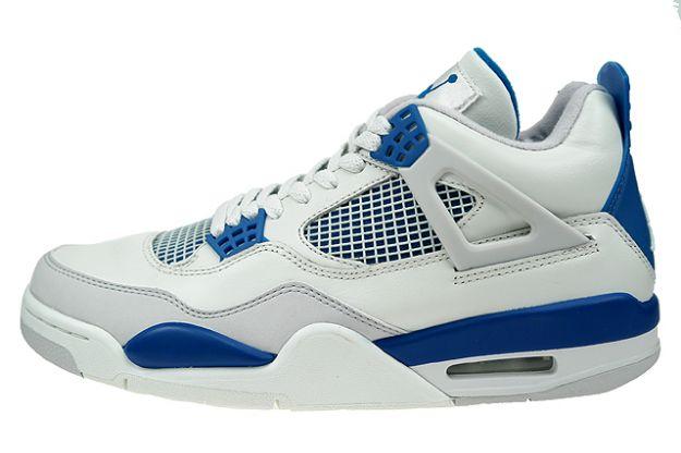 Jordan 4 Retro white military blue neutral grey shoes