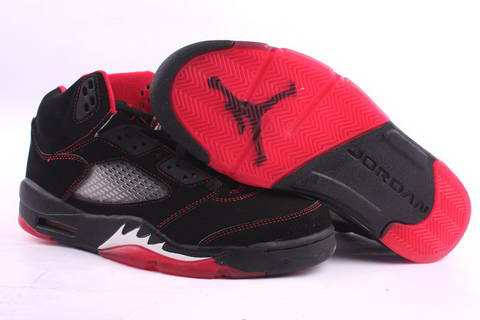 Jordan 5 Retro black red fire white shoes