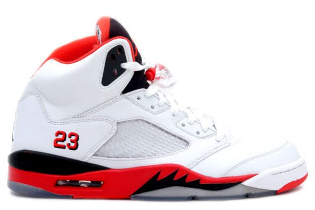 Jordan 5 Retro fire red white fire red black shoes