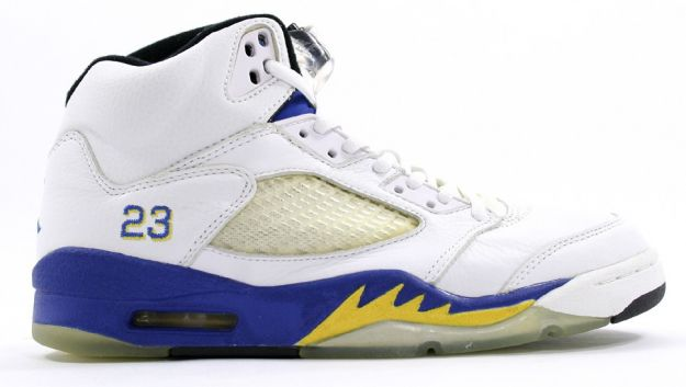 Jordan 5 Retro laney white varsity royal varsity maize shoes