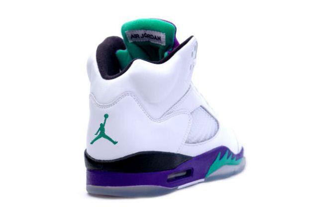 Jordan 5 Retro white grape ice new emerald shoes