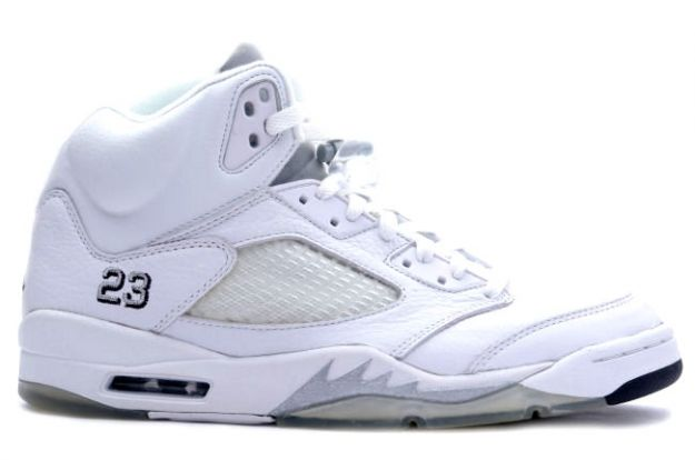 Jordan 5 Retro white metallic silver black shoes