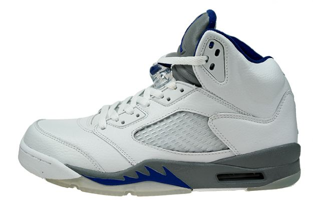 Jordan 5 Retro white sport royal stealth shoes