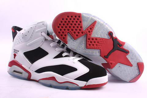 Jordan 6 Retro white black red shoes