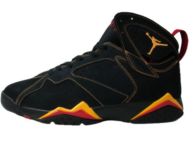 Jordan 7 Retro black citrus varsity red shoes